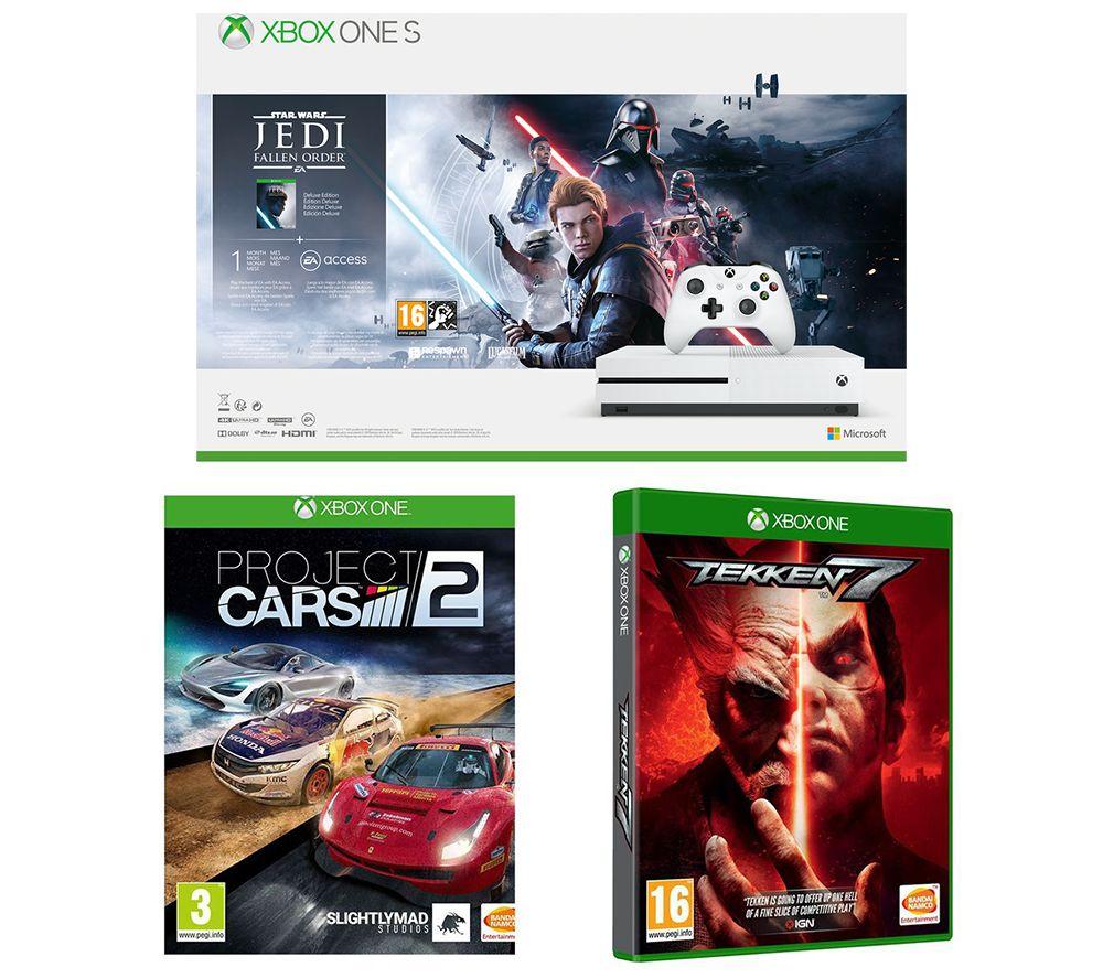 MICROSOFT Xbox One S, Star Wars Jedi: Fallen Order Deluxe Edition, Tekken 7 & Projects Cars 2 Bundle