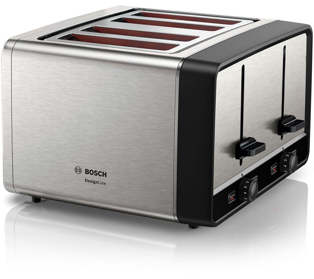 BOSCH DesignLine TAT5P440GB 4-Slice Toaster - Silver, Silver