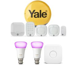 Sync IA-320 Smart Home Alarm Family Kit & Hue B22 White & Colour Ambience Smart Lighting Starter Kit with Bridge