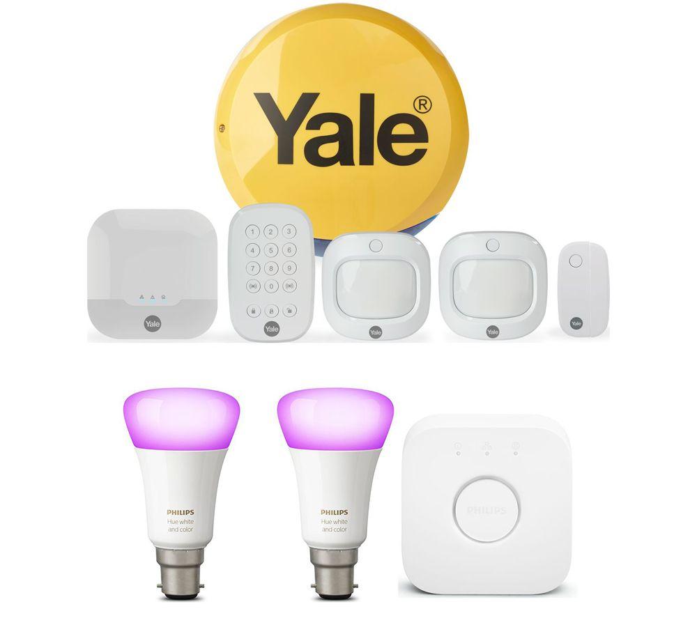 YALE Sync IA-320 Smart Home Alarm Family Kit & Hue B22 White & Colour Ambience Smart Lighting Starter Kit with Bridge