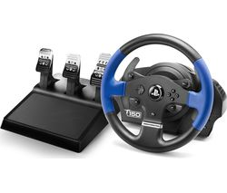 T150 Pro Force Feedback Wheel & Pedals - Blue & Black