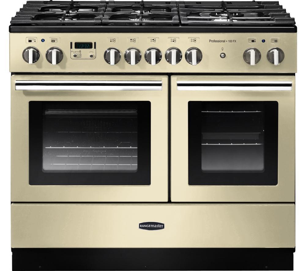 RANGEMASTER Professional+ FX 100 Dual Fuel Range Cooker - Cream & Chrome