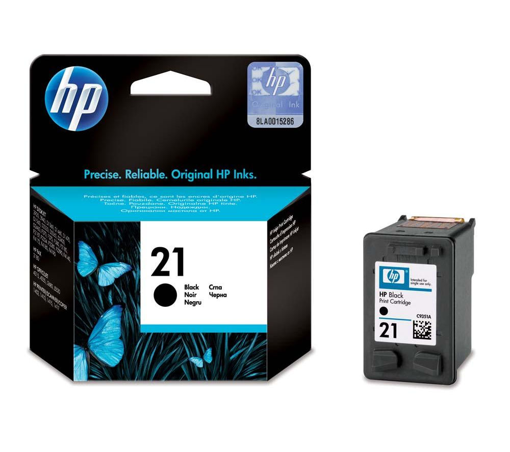 HP 21 Black Ink Cartridge + 100 x 150 mm Photo Paper - 30 Sheets