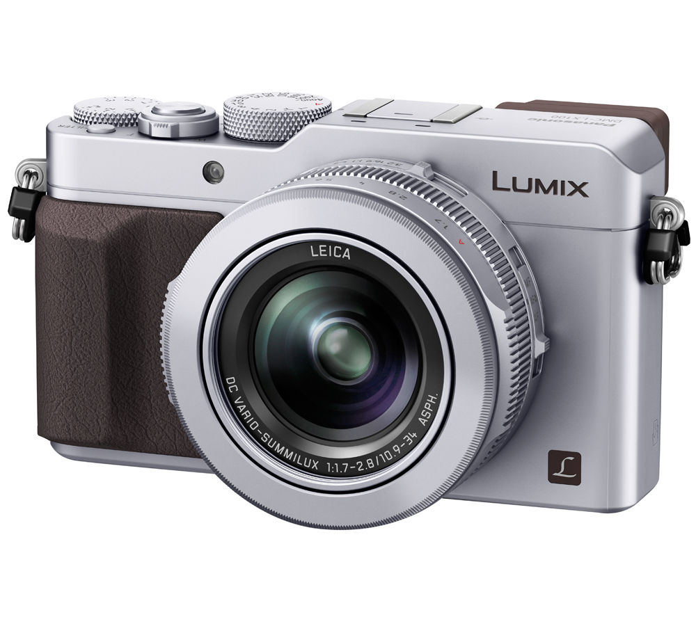 PANASONIC Lumix DMC-LX100EBS High Performance Compact Camera - Silver + Extreme Plus Class 10 SD Memory Card Twin Pack - 16 GB