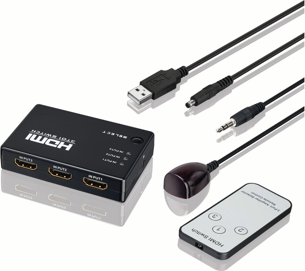 Adapters And Splitters Cheap Deals Currys Cctv Wiring Guide Log Lhdsw16 3 Way Hdmi Switch Box