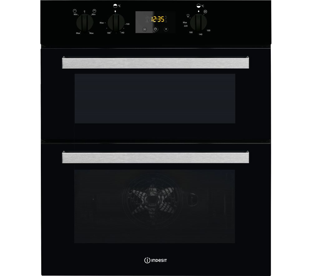INDESIT Aria IDU 6340 BL Electric Built-under Double Oven - Black