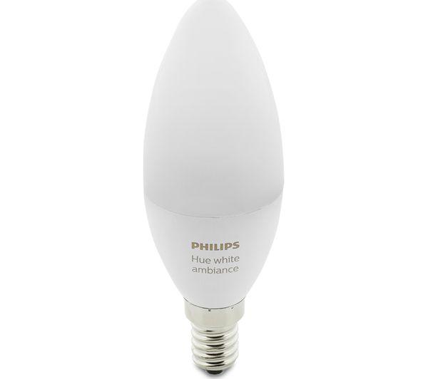 buy philips hue white ambience smart led bulb candle e14 hue white colour ambiance e27. Black Bedroom Furniture Sets. Home Design Ideas