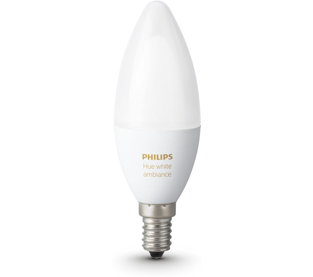 PHILIPS Hue White Ambience Smart LED Bulb - Candle E14 + Home - White