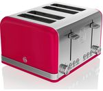SWAN Retro ST19020RN 4-Slice Toaster - Red