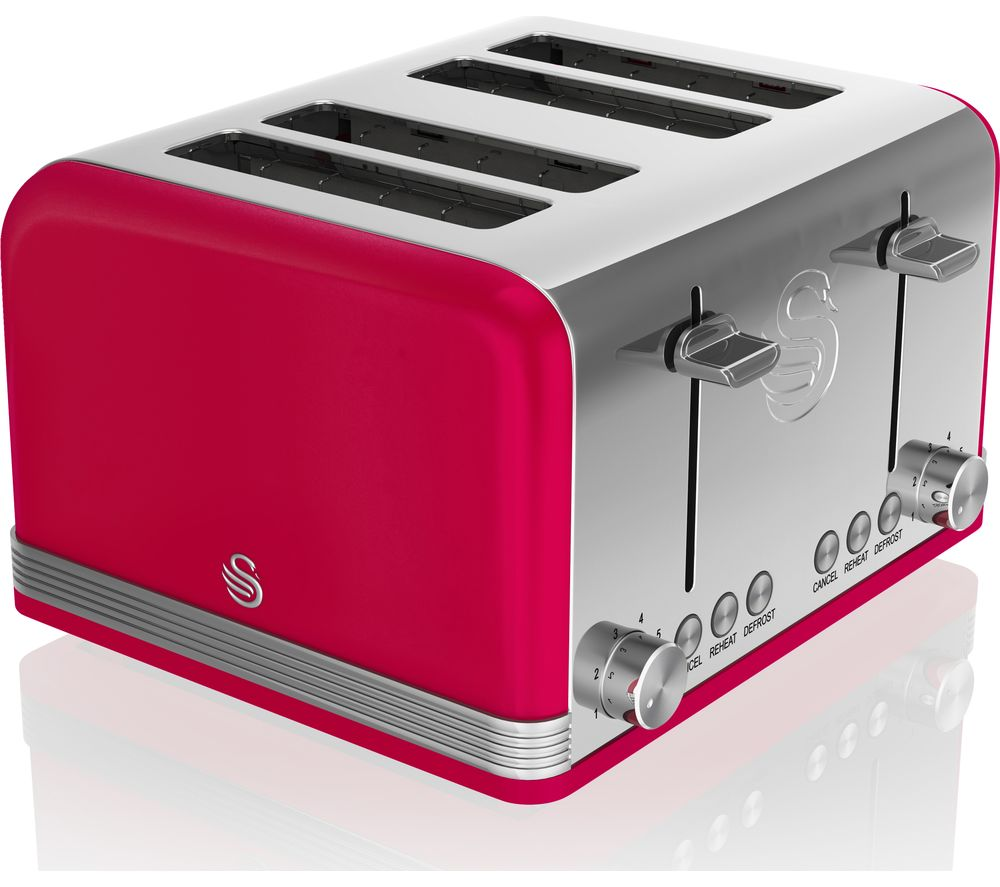 SWAN Retro ST19020RN 4-Slice Toaster - Red