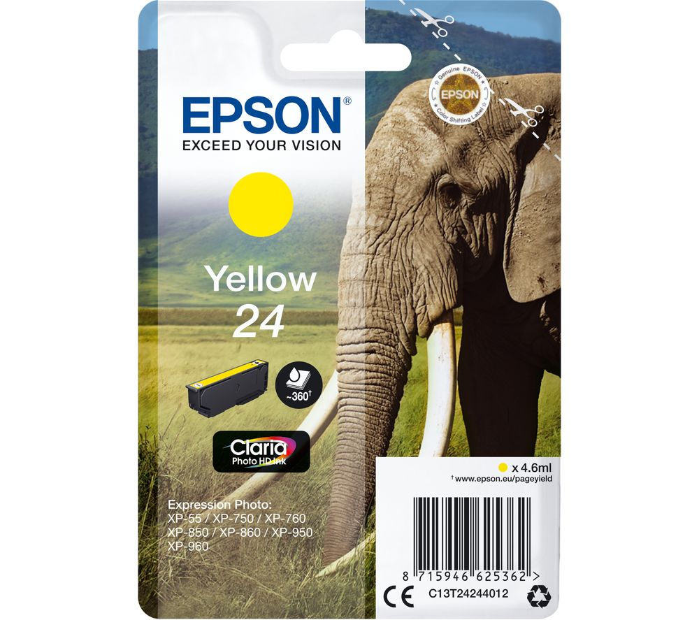 EPSON 24 Elephant Yellow Ink Cartridge, Yellow