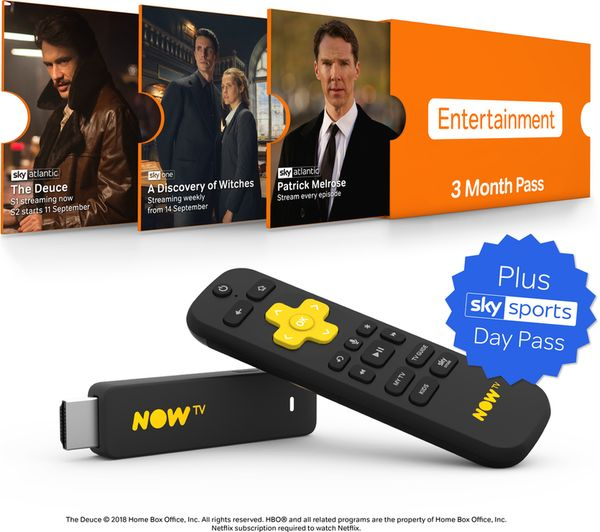 Image of NOW TV Smart Stick with HD & Voice Search - 3 Month Entertainment Pass & 1 Day Sky Sports Pass