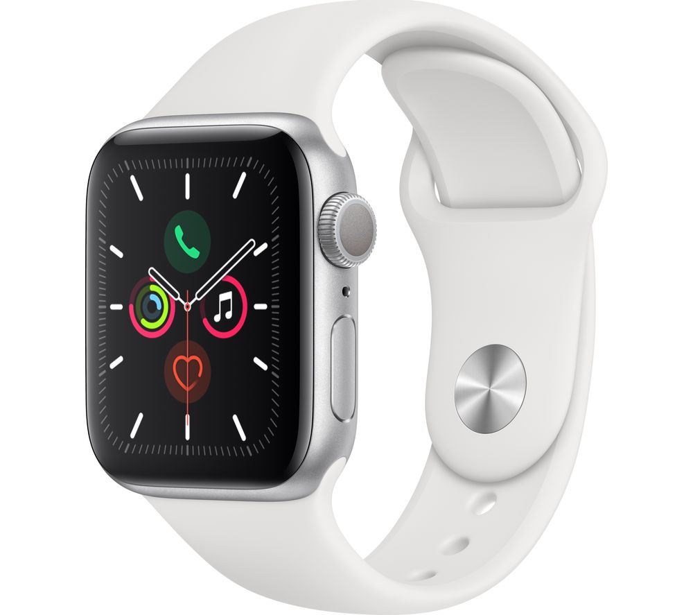 APPLE Watch Series 5 - Silver Aluminium with White Sports Band, 44 mm