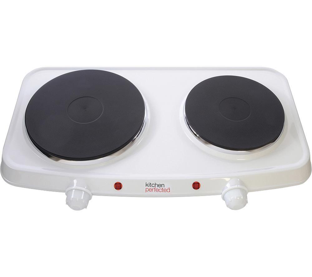LLOYTRON E832 Twin Electric Hot Plate - White