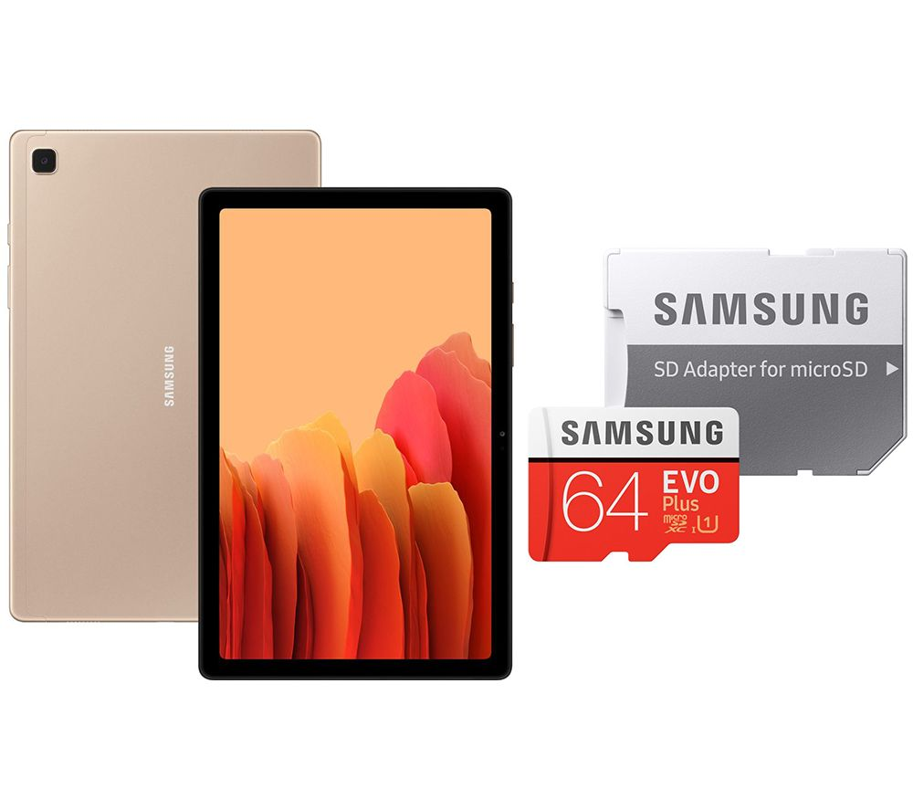 "Image of SAMSUNG Galaxy Tab A7 10.4"" Tablet & 64 GB microSD Memory Card Bundle - 32 GB, Gold, Gold"