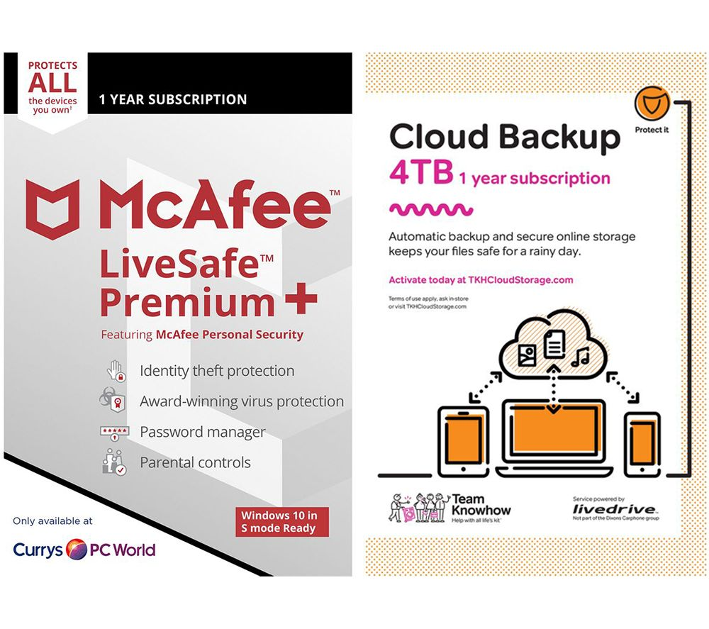 Image of MCAFEE LiveSafe Premium & Knowhow 4 TB Cloud Backup Bundle - 1 year