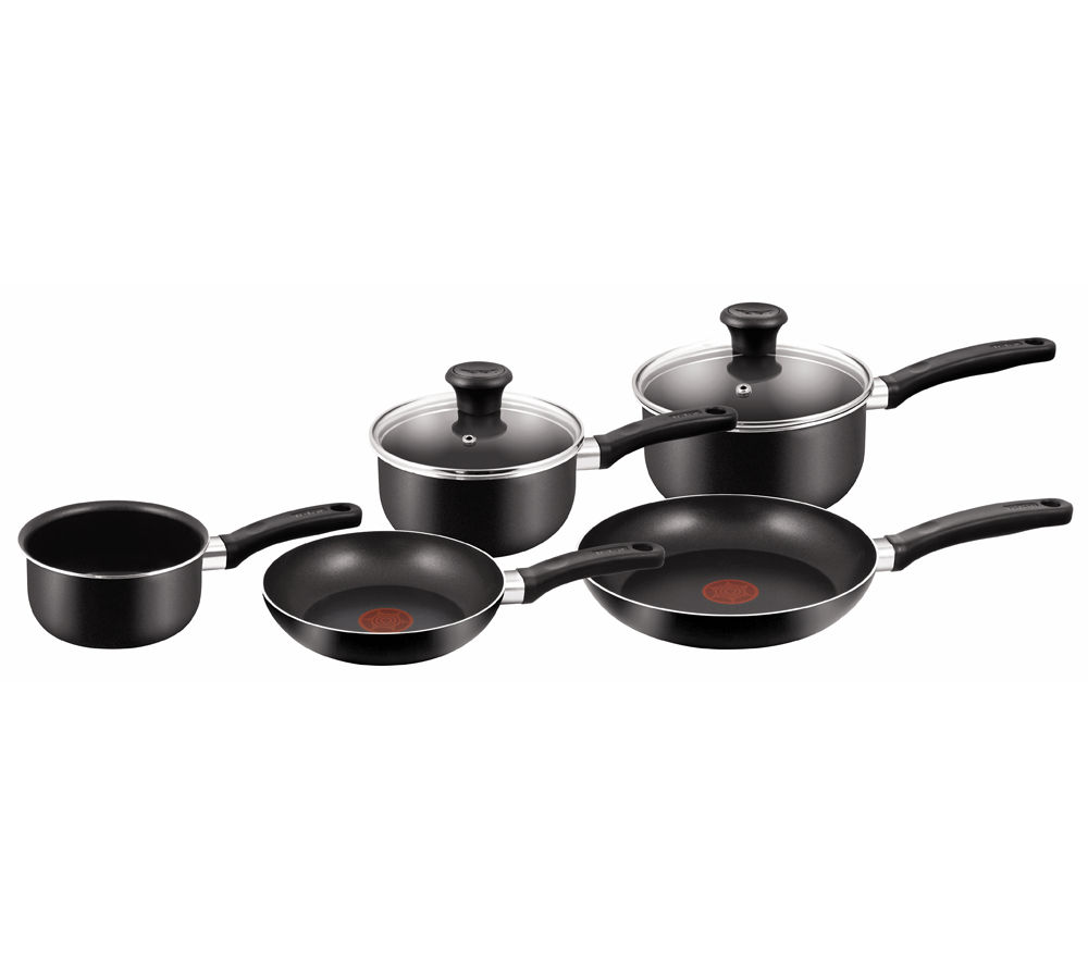 TEFAL A1799444 Delight 5-piece Non-stick Pan Set - Black, Black