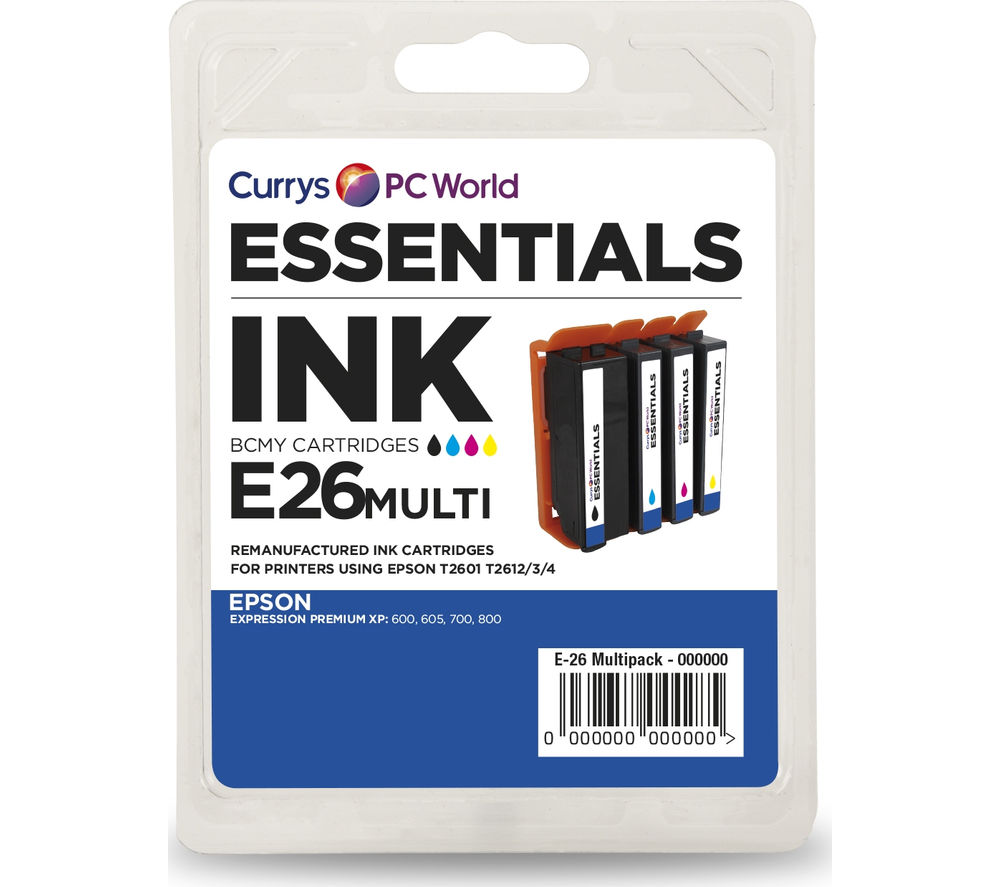 ESSENTIALS Epson Cyan, Magenta, Yellow & Black Ink Cartridges - Multipack