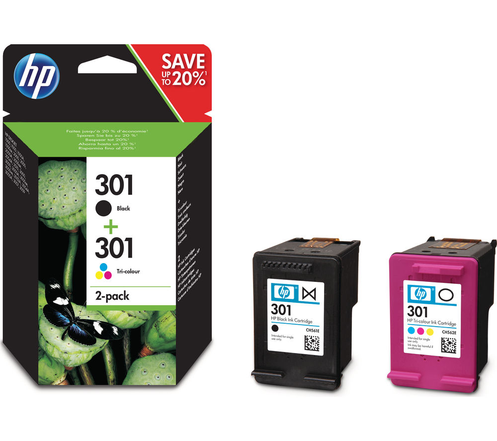 buy hp 301 black tri colour ink cartridges twin pack free delivery currys. Black Bedroom Furniture Sets. Home Design Ideas