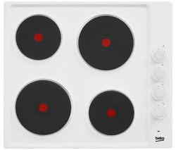 BEKO HIZE64101W Electric Solid Plate Hob - White Best Price, Cheapest Prices