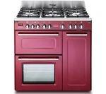 KENWOOD CK503VB 90 cm Dual Fuel Range Cooker - Burgundy & Stainless Steel