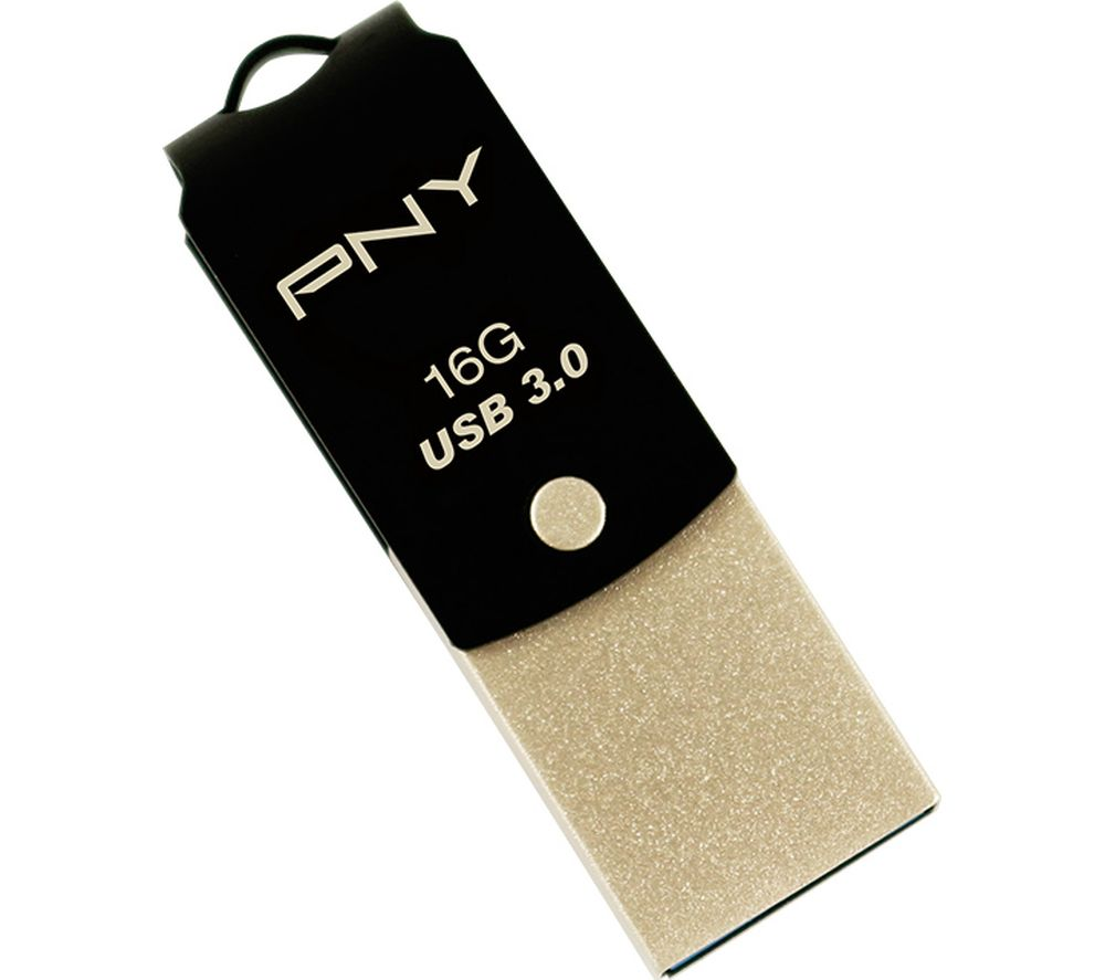 PNY Duo-Link USB 3.0 and Type-C Memory Stick - 16 GB, Black