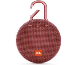 JBL Clip 3 Portable Bluetooth Speaker - Red