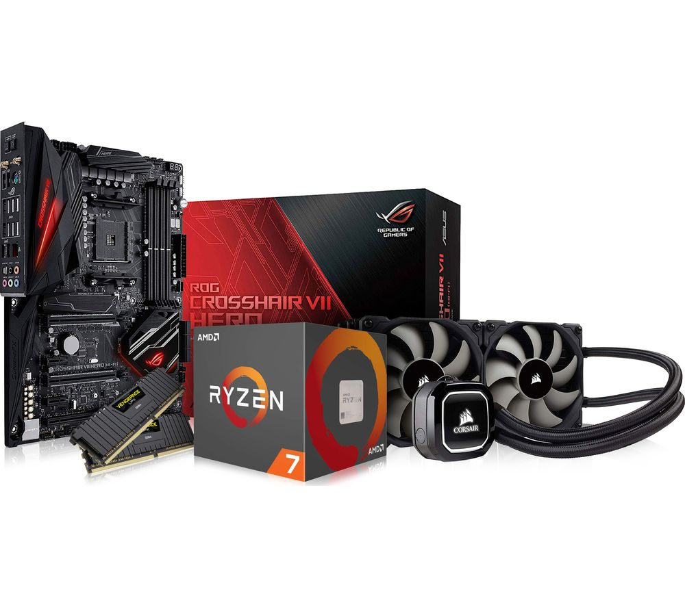 PC SPECIALIST AMD Ryzen 7 X Processor, CROSSHAIR VII HERO Motherboard, 16 GB RAM & Corsair Cooler Components Bundle