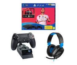 SONY Playstation 4 with FIFA 20, Two Wireless Controllers, Docking Station & Headset Bundle - 500 GB