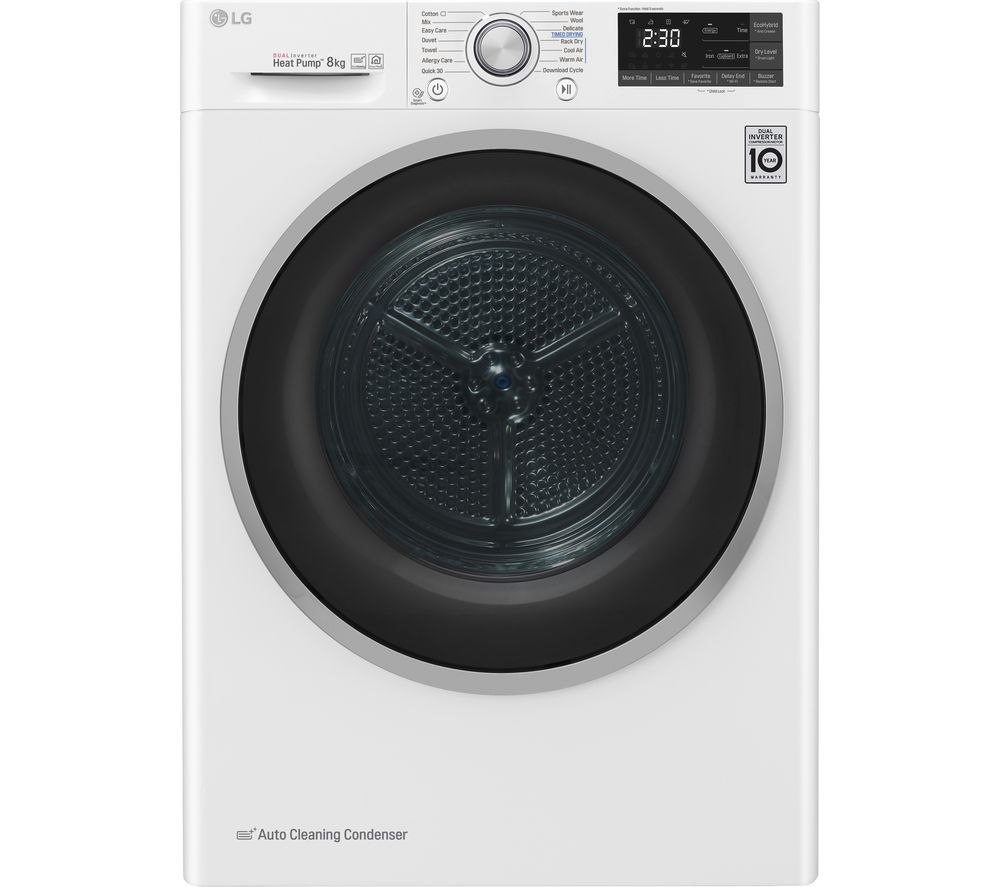 LG FDJ608W WiFi-enabled 8 kg Heat Pump Tumble Dryer - White, White
