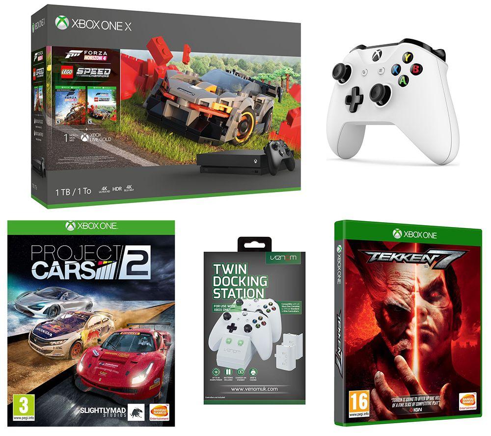 MICROSOFT Xbox One X, Forza Horizon 4, LEGO Speed Champions, Tekken 7, Project Cars 2, Wireless Controller & Docking Station Bundle