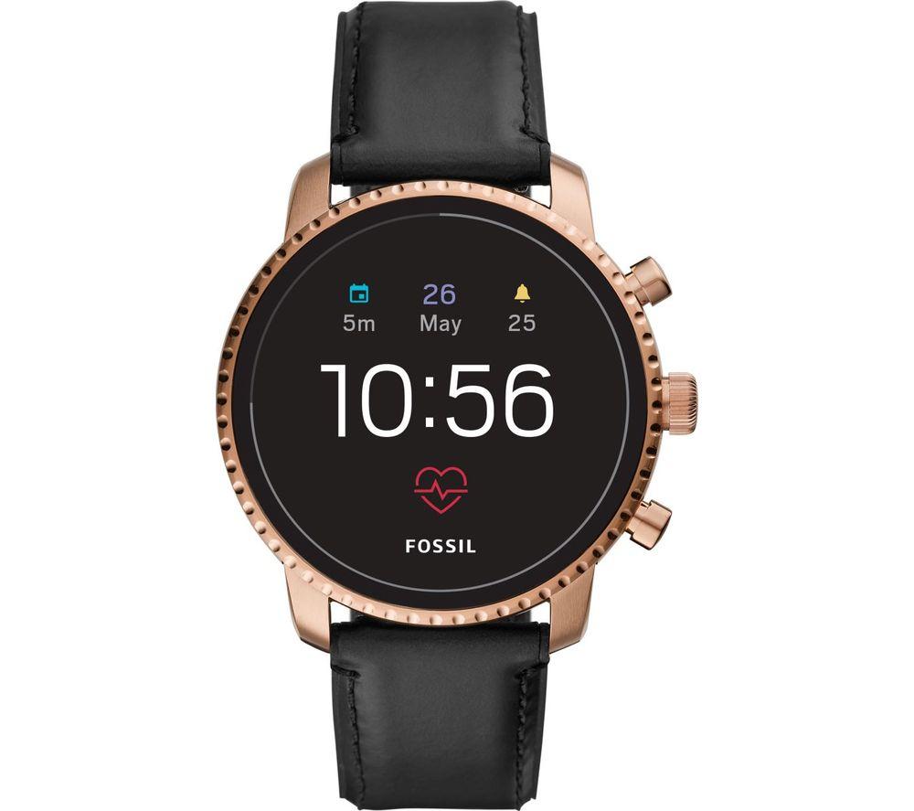 Image of FOSSIL Explorist HR FTW4017 Smartwatch - Black & Rose Gold, Leather Strap, Black