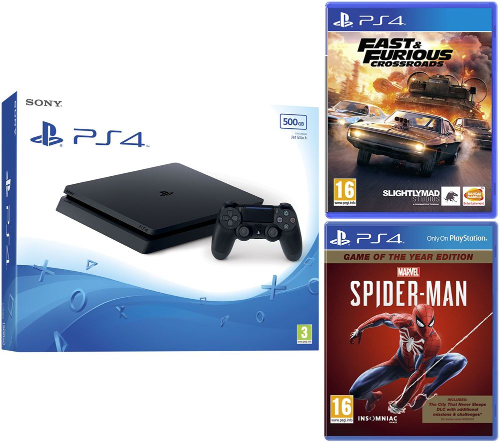 SONY PlayStation 4, Fast and Furious: Crossroads & Marvels Spider-Man Bundle - 500 GB