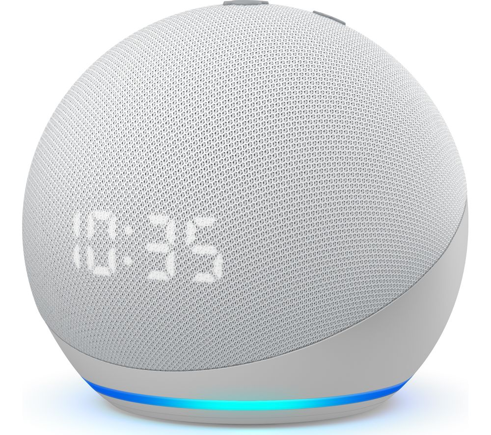 AMAZON Echo Dot (4th Gen) with Clock - Glacier White