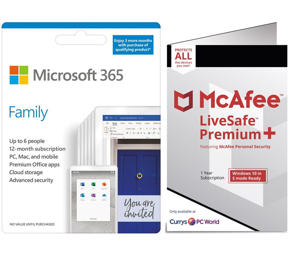 Image of MICROSOFT 365 Family & McAfee LiveSafe Premium 2020 Bundle - 1 year for 6 users (+ 3 Months MICROSOFT 365 Extra Time)