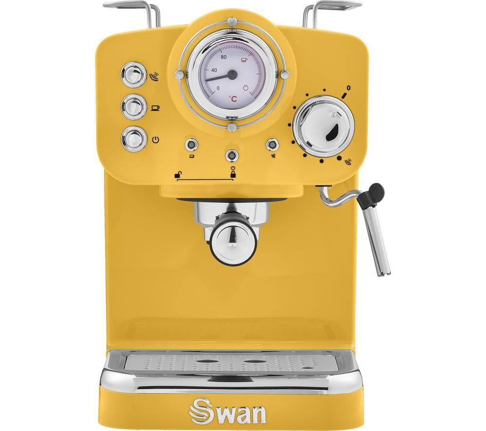 SWAN Retro Pump Espresso SK22110YELN Coffee Machine - Yellow, Yellow