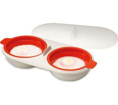 JOSEPH JOSEPH M-Cuisine Microwave Egg Poacher - Stone & Orange