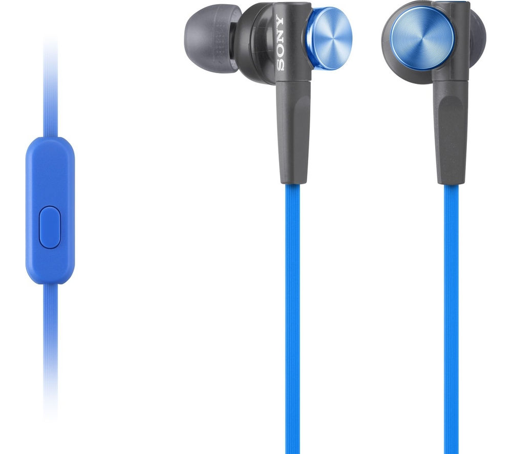 SONY MDR-XB50APL Headphones - Blue + iPhone 7 Lightning to 3.5 mm Headphone Jack Adapter
