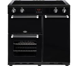 BELLING Kensington 90 cm Electric Induction Range Cooker - Black & Chrome Best Price, Cheapest Prices