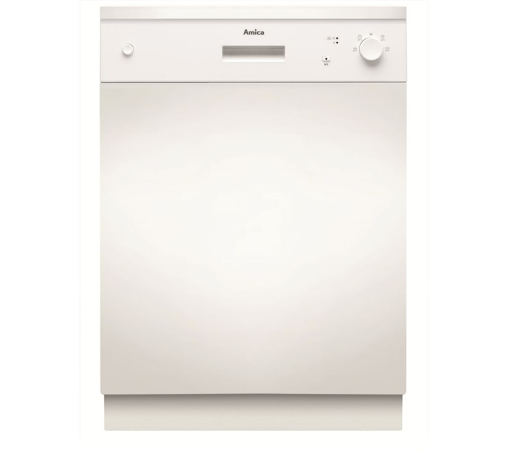 Image of AMICA ZZV634W Semi-integrated Full-size Dishwasher - White, White