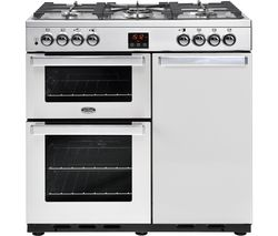 BELLING Gourmet 90DFT 90 cm Dual Fuel Range Cooker - Stainless Steel Best Price, Cheapest Prices