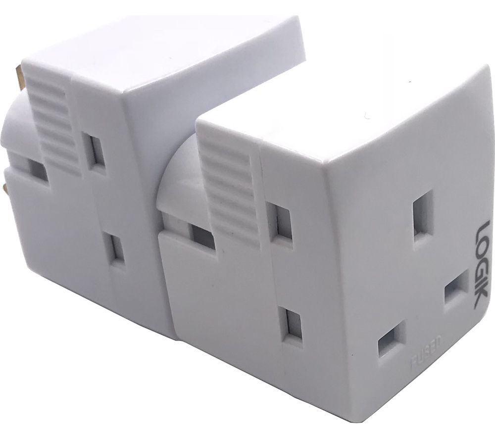 LOGIK L3WAYP18 3-Socket Plug Adapter - Twin Pack