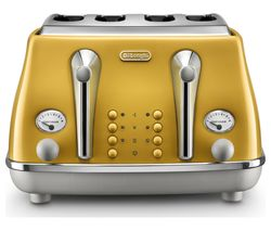 DELONGHI Icona Capitals CTOC4003.Y 4-Slice Toaster - Yellow