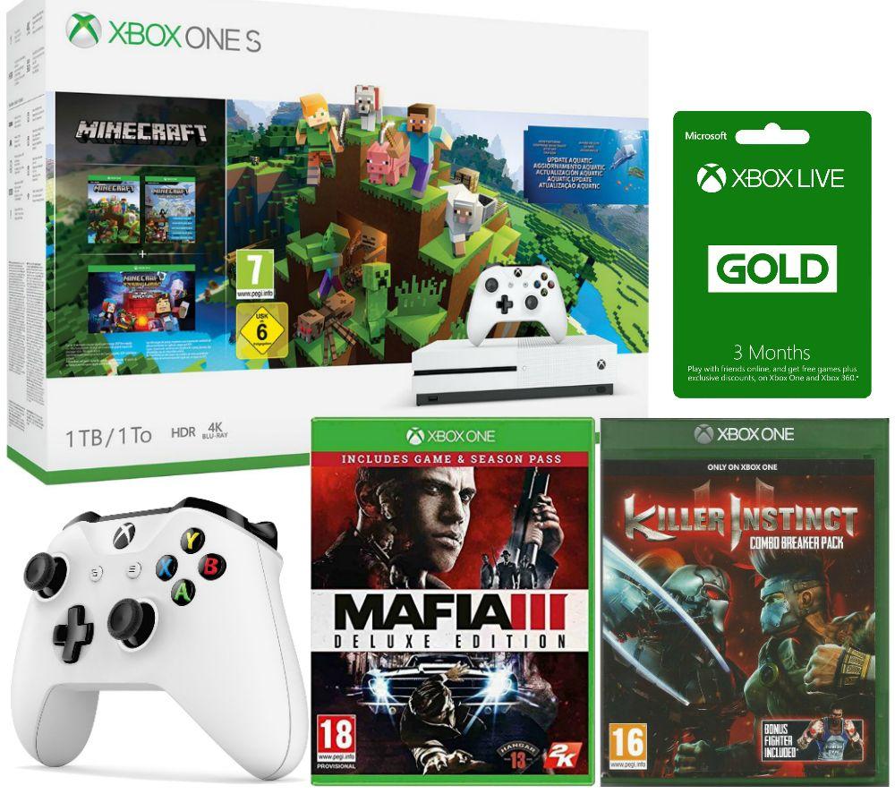 Image of MICROSOFT Xbox One S, Minecraft, Killer Instinct Combo Breaker Pack, Mafia III Deluxe Edition, Controller & Xbox LIVE Gold Bundle, Gold