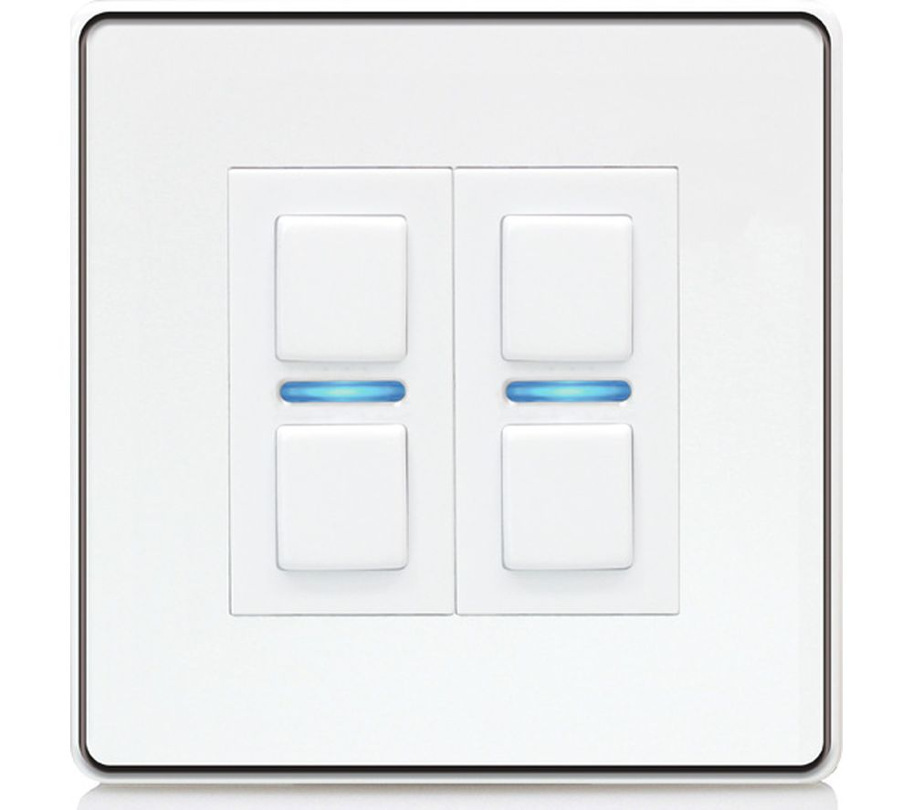 LIGHTWAVE Smart Series 2 Gang Dimmer Switch - White