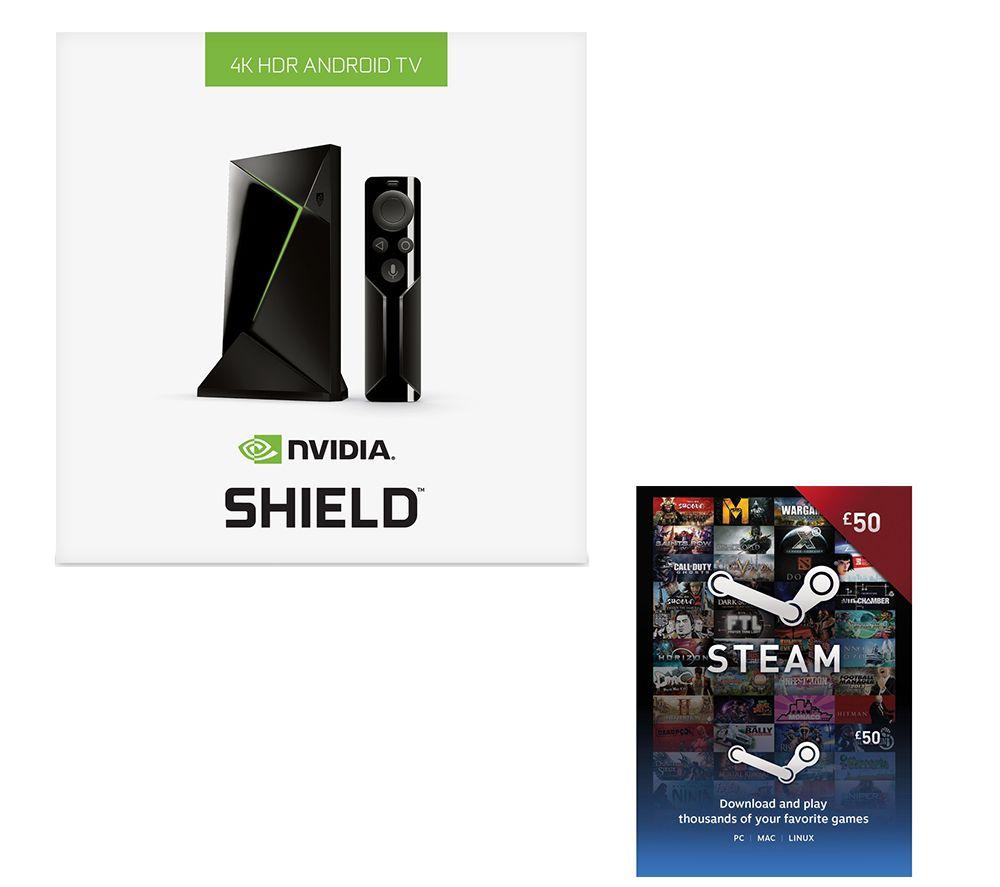 NVIDIA SHIELD 4K Media Streaming Device & £50 Steam Wallet Card Bundle - 16 GB