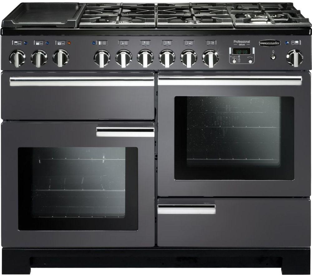 RANGEMASTER Professional Deluxe PDL110DFFSL/C 110 cm Dual Fuel Range Cooker - Slate & Chrome