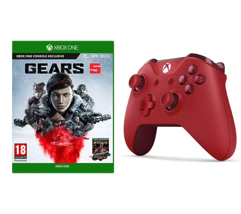 MICROSOFT Gears 5 & Xbox Wireless Controller Bundle - Red, Red