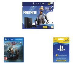 SONY PlayStation 4 Pro with Fortnite Neo Versa, PlayStation Plus 3 Month Subscription & God of War Bundle