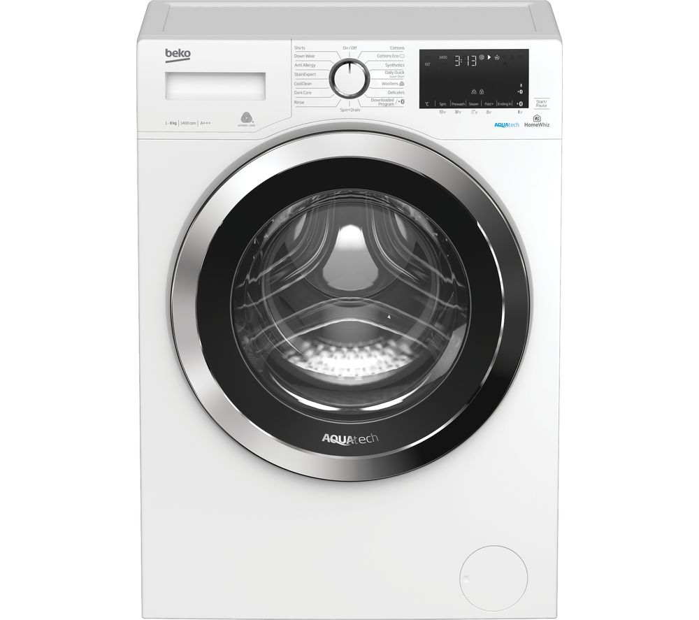 Beko Aquatech WX84044E0W Bluetooth 8 kg 1400 Spin Washing Machine - White, White